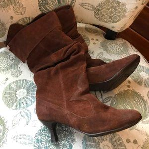 Suede Leather Brown Slouchy Boots - Size 39
